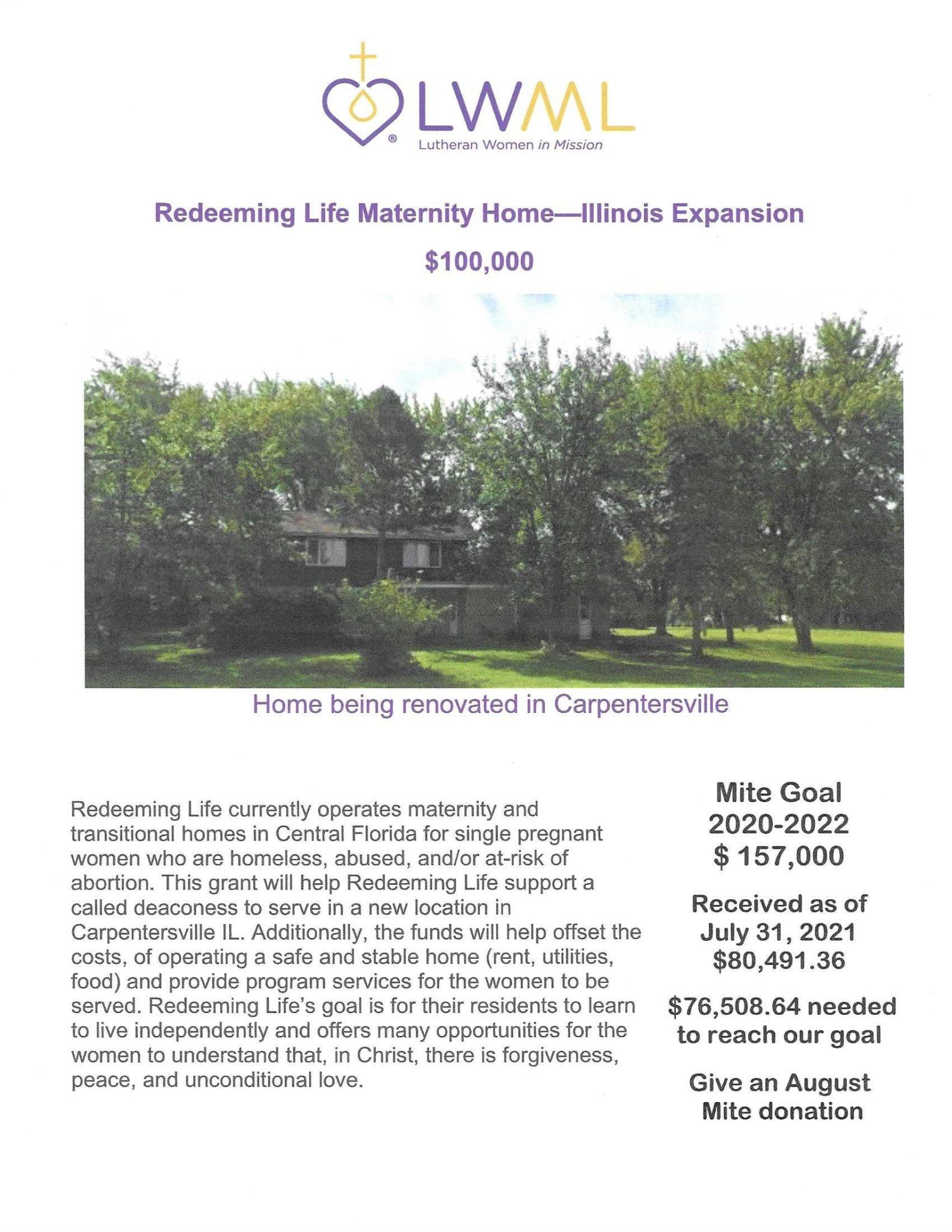 Redeeming Life Maternity Home Il Expansion mission grant poster