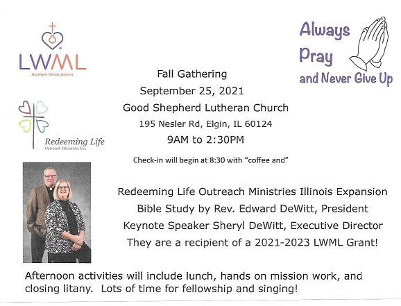 This image is the flyer containing details on the Lutheran Women's Missionary League Northern Illinois District 2021 Fall Gathering.