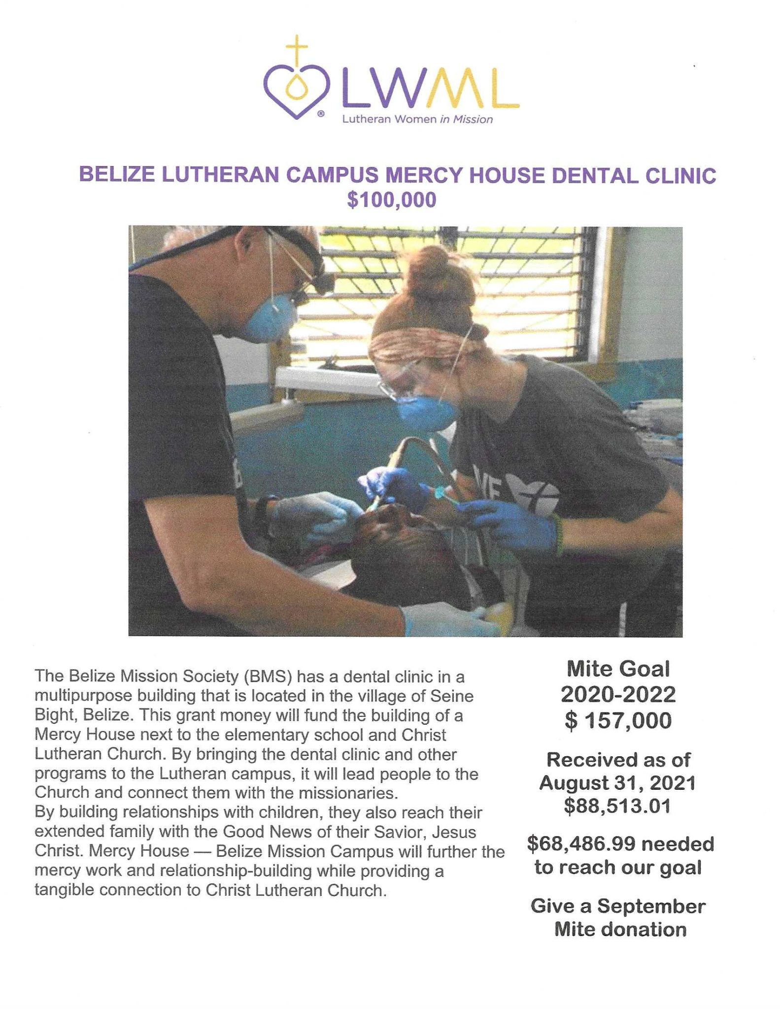 Poster with photo of person getting a dental exam & description for the Belize mission grant for LWML NID