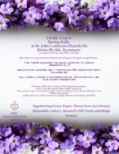 Spring Rally in Sycamore IL hosted by LWML NID Zone 8 @ St. John Lutheran Church | Sycamore | Illinois | United States