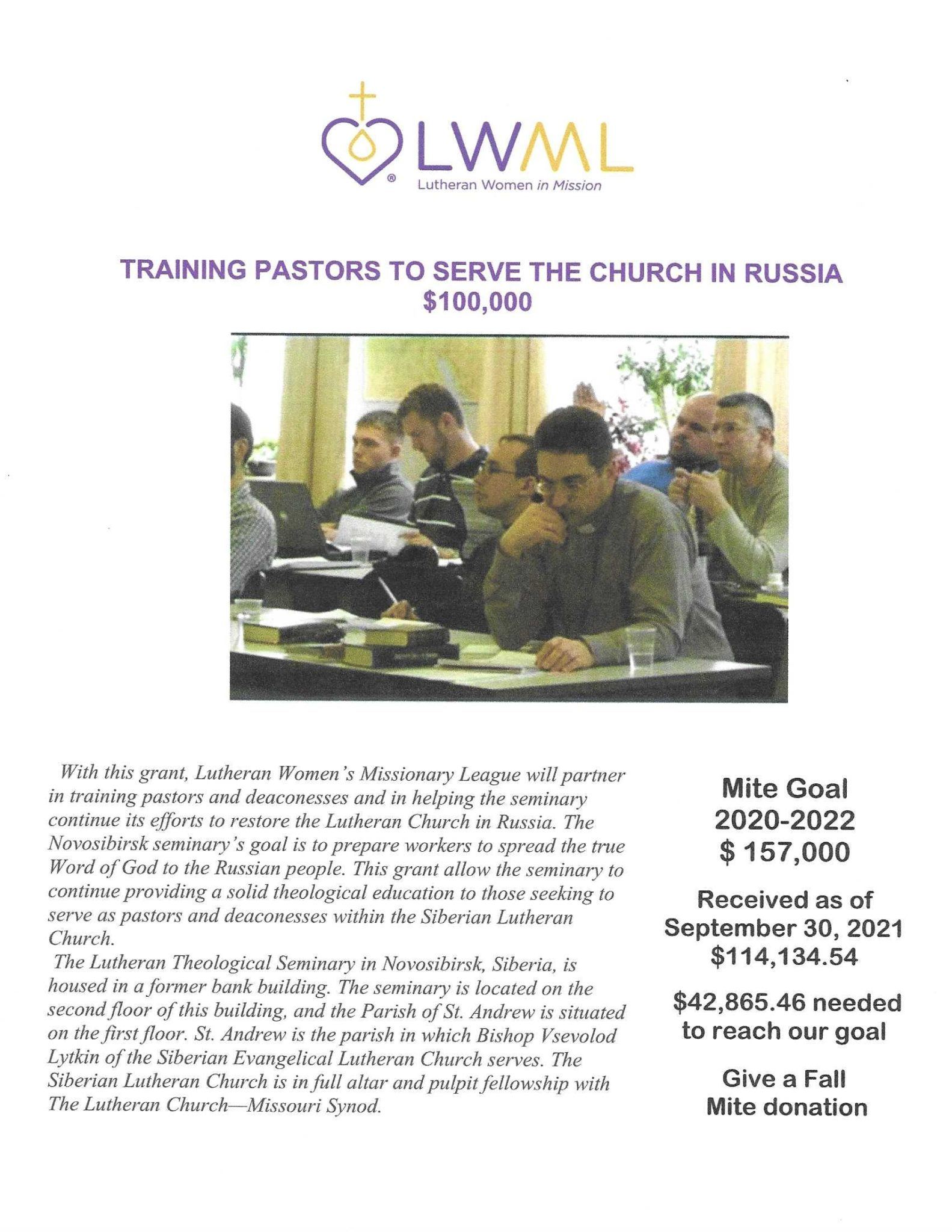 Mission Grant poster for LWML NID for October 2021.