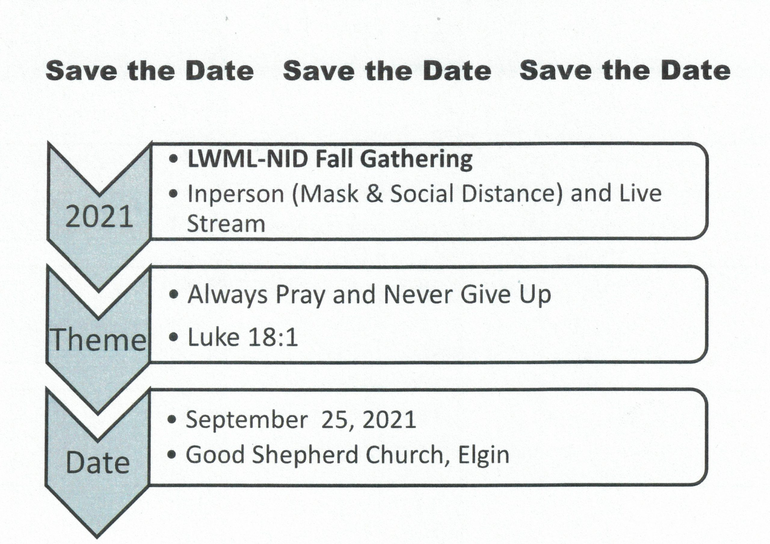 Save the Date flyer for the LWML NID Fall Gathering 2021 in Elgin, IL
