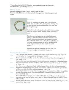 Witness Bracelets instructions